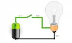 Движение тока и электронов в электрической цепи из батарейки и лампочки. схема движения электронов и тока в...